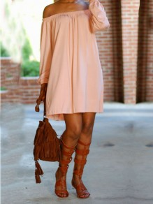 Pink Off Shoulder Pleated Long Sleeve Cute Casual Party Mini Dress