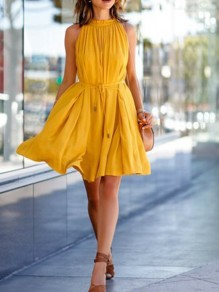 Mustard Yellow Pleated Sashes Round Neck Big Swing Sweet Mini Dress