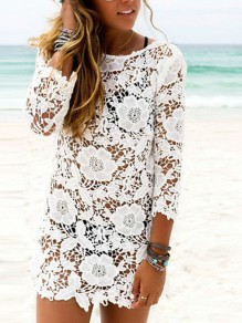 White Lace Round Neck Long Sleeves Beach Cover Up Sheer Vacation Sweet Ladies Mini Dress