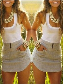 White Patchwork Buttons Pockets Bodycon Going out Mini Dress