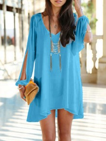 Blue Cut Out V-neck Chiffon Long Sleeve Vacation A-Line Loose Women Mini Dress