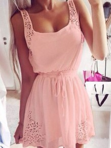 Pink Patchwork Lace Drawstring Bodycon Going out Mini Dress