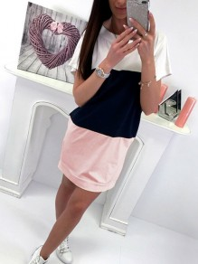 Pink Tie Back Bodycon Comfy Hit Color Going out Mini Dress
