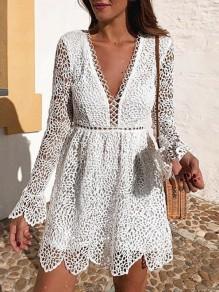 White Patchwork Lace Cut Out Deep V-neck Long Sleeve Sweet Casual Beach Mini Dress