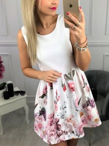 White Floral U-neck Sleeveless Going out Mini Dress