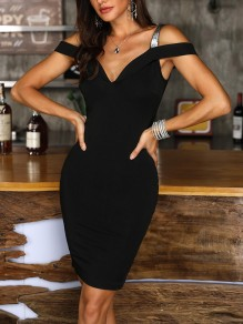 Black Backless Off Shoulder Bodycon Spaghetti Strap Going out Mini Dress