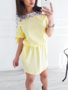 Yellow Patchwork Lace Fashion Sweet Comfy One Piece mini dress