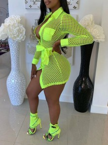 Neon Green Plaid Pockets Sashes Turndown Collar Fishnet Turndown Collar Bodycon Clubwear Mini Dress