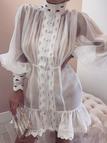 White Patchwork Single Breasted High Neck Long Sleeve Fashion Mini Dress
