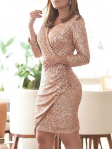 Pink Patchwork Sequin Pleated Irregular V-neck Sparkly Glitter Birthday Party Mini Dress