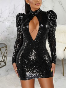 Golden Patchwork Sequin Cut Out Backless Sparkly Glitter Birthday Party Mini Dress
