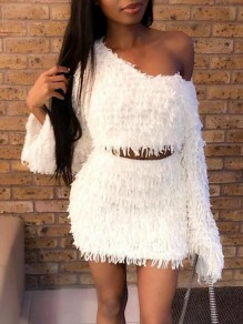 White Tassel Irregular One Shoulder Fuzzy Two Piece Bodycon Party Mini Dress