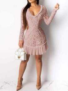 Pink Patchwork Lace Ruffle Cut Out Backless Deep V-neck Bodycon Banquet Party Mini Dress