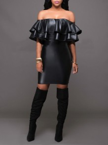 Black Off Shoulder Cascading Ruffle Backless Bodycon PU Leather Latex Party Mini Dress