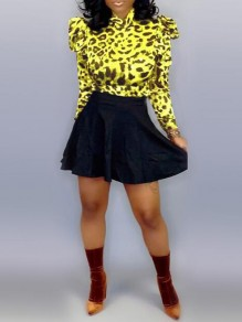 Yellow Leopard Print Ruffle High Waisted Two Piece Clubwear Party Mini Dress