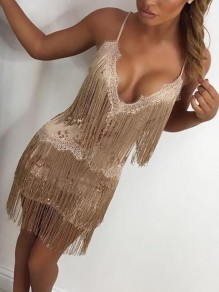 Apricot Patchwork Tassel Sequin The Great Gatsby Cosplay Sexy Backless NYE Banquet Party Mini Dress