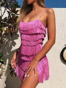 Rose Carmine Patchwork Tassel Square Neck The Great Gatsby Cosplay Backless NYE Banquet Party Mini Dress