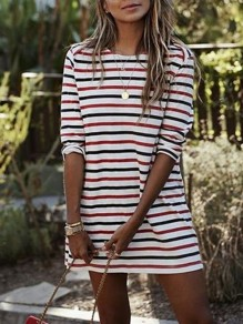 White Red Striped Pattern Round Neck Elegant Mini Dress