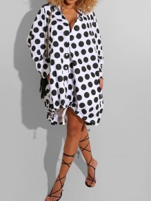 White Polka Dot Pattern Single Breasted Turndown Collar 3/4 Sleeve High-low Casual Mini Dress