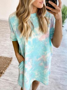 Blue Tie Dye Pockets Round Neck Short Sleeve Casual Shirt Mini Dress