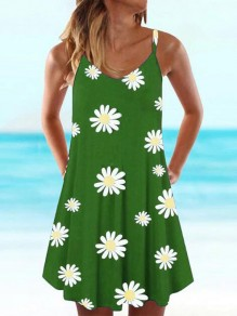 Green Daisy Pattern Spaghetti Strap Deep V-neck Draped Bohemian Mini Dress