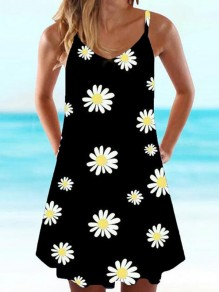 Black Daisy Pattern Spaghetti Strap Deep V-neck Draped Bohemian Mini Dress