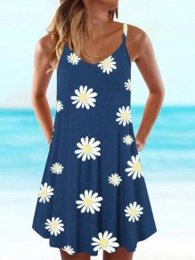 Blue Daisy Pattern Spaghetti Strap Deep V-neck Draped Bohemian Mini Dress