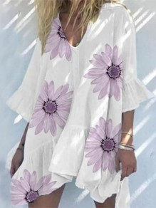 White Flowers Pattern Ruffle Draped V-neck Elbow Sleeve Mini Dress