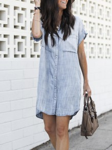 Blue Patchwork Pockets Single Breasted V-neck Denim Mini Dress