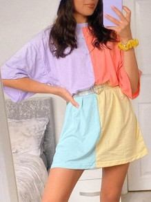 Purple Yellow Color Block Draped Round Neck Elbow Sleeve Fashion Cute T-shirt Mini Dress