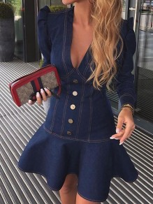 Blue Ruffle V-neck Puff Sleeve Going Out Denim Mini Dress