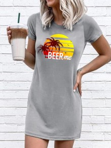 Grey Beer Me Round Neck Short Sleeve Casual Mini Dress