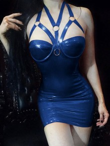 Blue Spaghetti Strap Lace Chain PU Leather Latex Patent Rubber Plus Size Bodycon Mini Dress