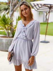 Grey Polka Dot Ruffle V-neck Long Sleeve Fashion Mini Dress