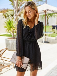 Black Polka Dot Ruffle V-neck Long Sleeve Fashion Mini Dress