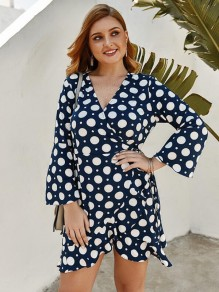 Blue Polka Dot Ruffle Irregular Deep V-neck Mermaid Plus Size Bohemian Mini Dress