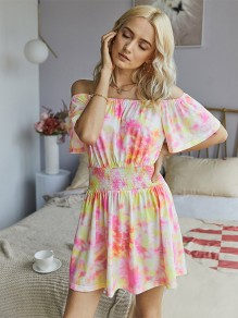 Red Colorful Tie Dye Boat Neck Short Sleeve Fashion Mini Dress