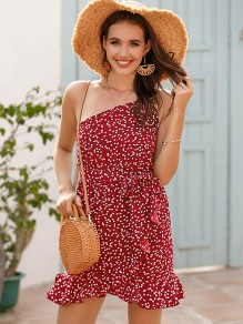 Red Polka Dot Ruffle Asymmetric Shoulder Fashion Mini Dress