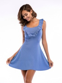 Blue Patchwork Draped Ruffle Sleeveless Fashion Cloak cute Mini Dress