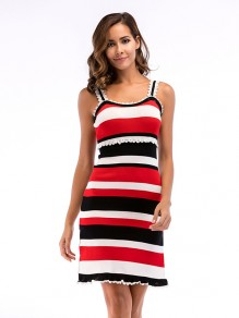 White Red Striped Ruffle Side Slit Sleeveless Mini Dress