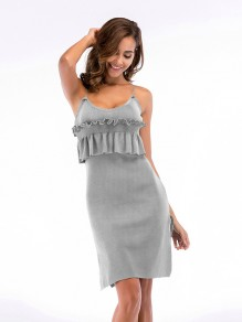 Grey Patchwork Ruffle Side Slit Sleeveless Fashion Mini Dress