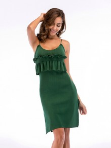 Green Patchwork Ruffle Side Slit Sleeveless Fashion Mini Dress