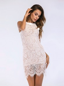 White Patchwork Lace Sleeveless New Fashion Latest Women Mini Dress
