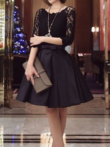 Black Patchwork Lace Bow Round Neck Elbow Sleeve Elegant Mini Dress