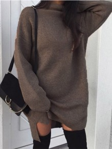 Brown Patchwork High Neck Long Sleeve Fashion Sweater Mini Dress