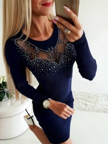 Navy Blue Patchwork Grenadine Rhinestone Bodycon Comfy Going out Mini Dress