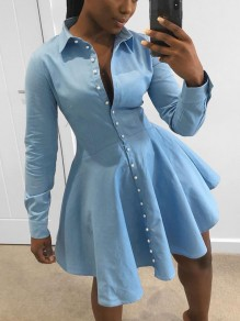 Light Blue Buttons Pleated Pearl Homecoming Party Mini Dress
