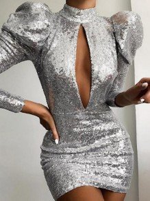Silver Sequin Puff Sleeve Cut Out Sparkly Bodycon Banquet NYE Party Mini Dress