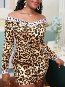 Brown Leopard Letter Fashion Print Off Shoulder Backless Bodycon Mini Dress