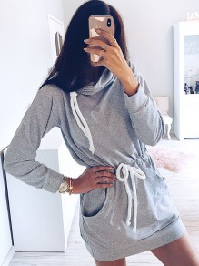 Grey Patchwork Drawstring Pockets Bodycon Comfy Going out Mini Dress